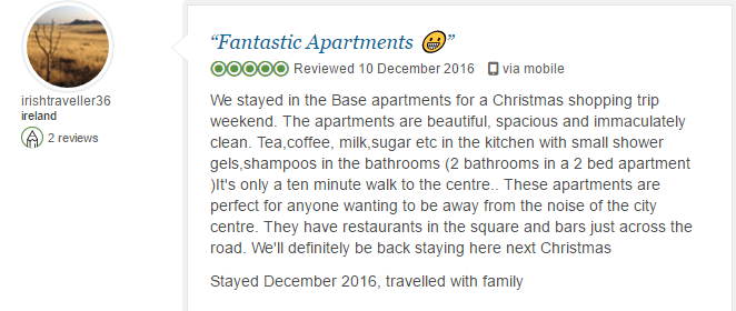 BASE Serviced Apartments Testimonials 1